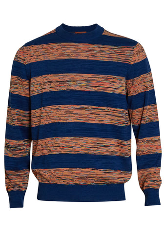 Missoni Men Blue Striped Crewneck Sweater