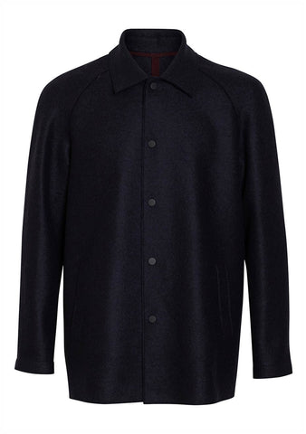 Harris Wharf London Navy Blue Raglan Pressed Wool Jacket