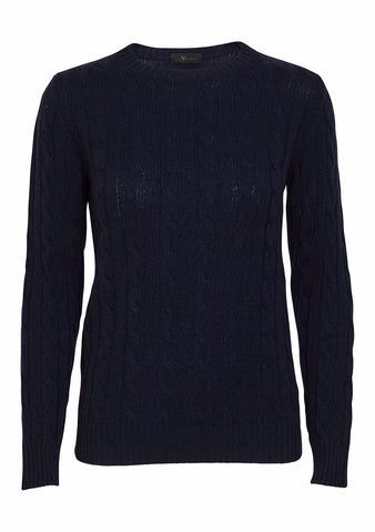 Bad Habits Navy Cashmere Cable Sweater