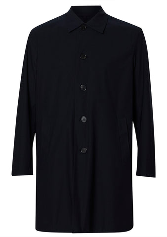 Harris Wharf London Dark Blue Technical Mac Coat shop online