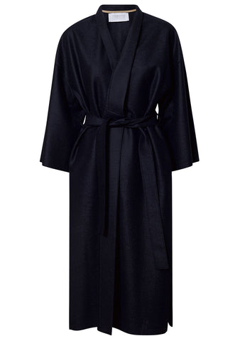 Harris Wharf London Navy Light Pressed Wool Kimono Coat shop online at lot29.dk