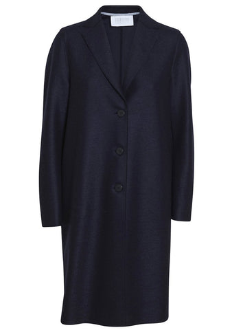 Navy Light Pressed Wool Coat