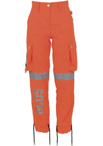 GCDS Fluo Orange Cargo Pants