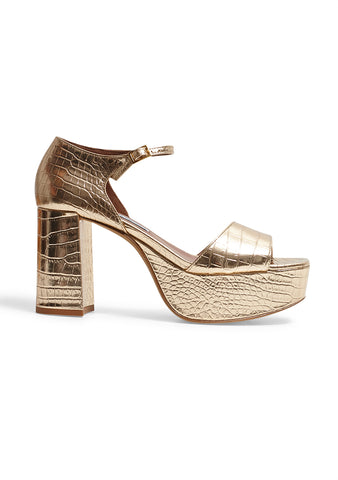 Tabitha Simmons Patton Gold Platform Sandals shop online
