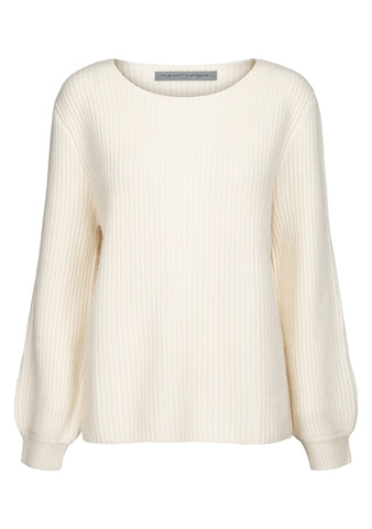 Raquel Allegra Cream Rib Cashmere Sweater
