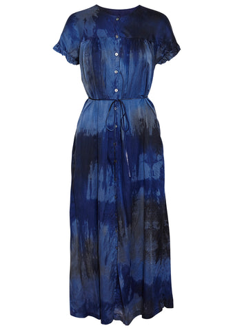 Raquel Allegra Poet Dress Sapphire Silk Cotton