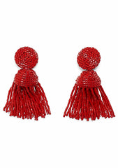 Aprosio Red Tassel Earrings