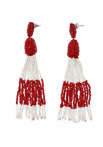 Aprosio Red & White Tassel Earrings