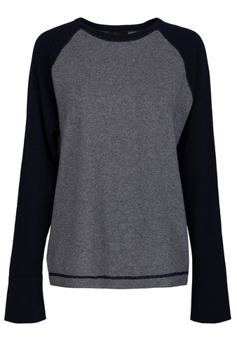 Grey & Navy Rugby Cashmere Sweater