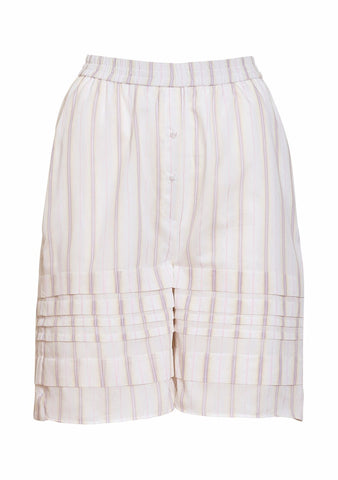Cecilie Bahnsen Petra Striped Cotton Silk Shorts