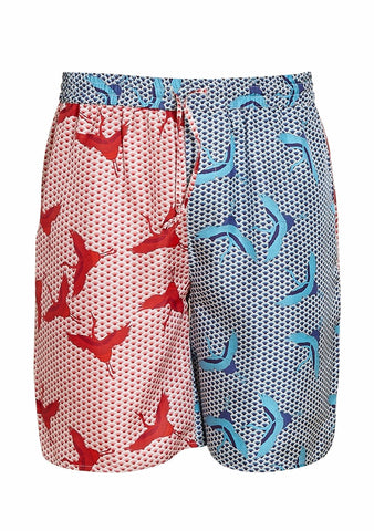 All At Sea Cph Red & Blue Bird Wave Shorts