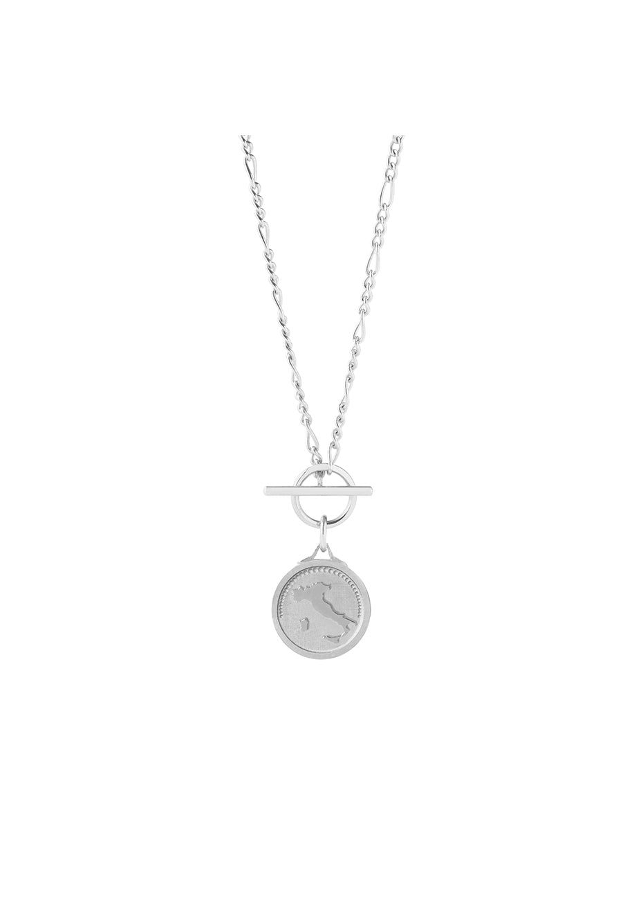 Italy Figaro T-lock Silver Necklace - Women