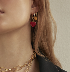 Gold Big Red Heart Earring