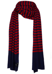 Navy & Red Cashmere Scarf