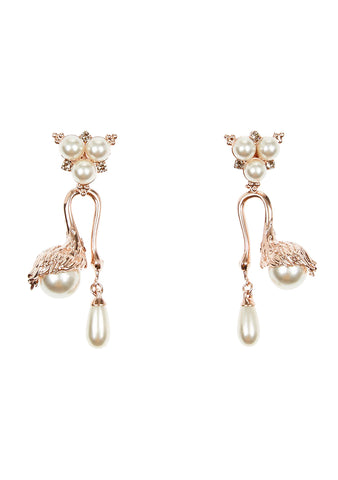 Erdem Double Drop Swan Earrings