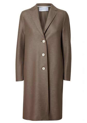 Harris Wharf London Taupe Light Pressed Wool Overcoat