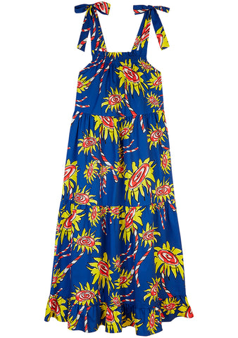 Mira Mikati Flower Printed Tie Shoulder Maxi Dress