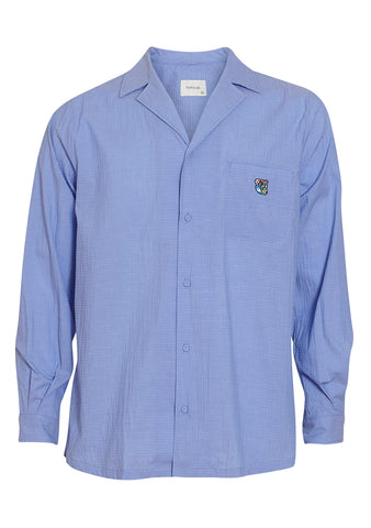 Tonsure Blue Seersucker Bowling Shirt
