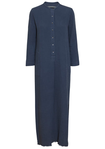 Raquel Allegra Dusty Blue Gauze Henley Dress