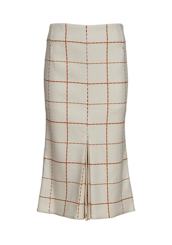 Victoria Beckham Cream Fitted Box Pleated Skirt
