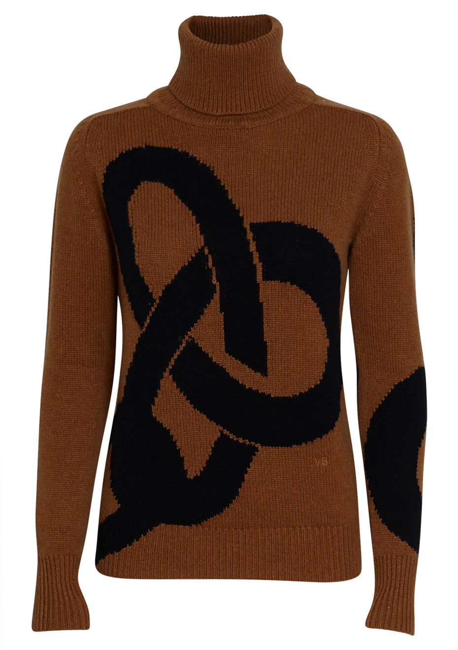 Camel & Navy Polo Neck Jumper