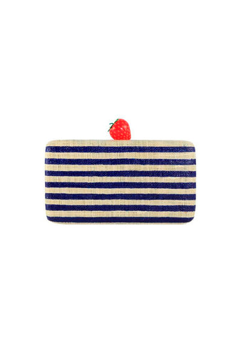 Kayu Navy Striped Veda Clutch
