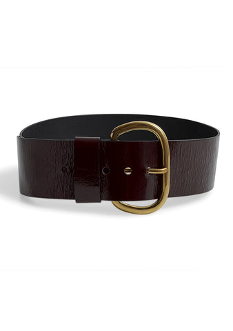 Rachel Comey Wide Estate Belt Burgundy Patent