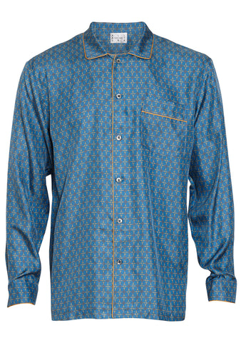 All At Sea Yellow Anchor Silk Pyjama Shirt