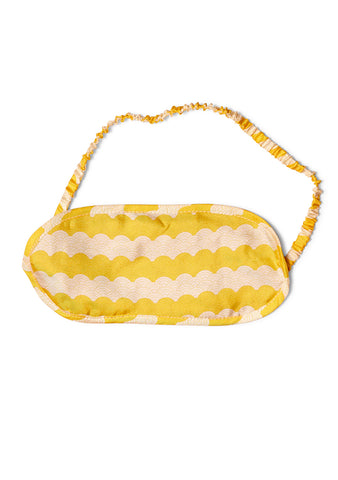 All At Sea Yellow Stripe Wave Silk Eye Mask