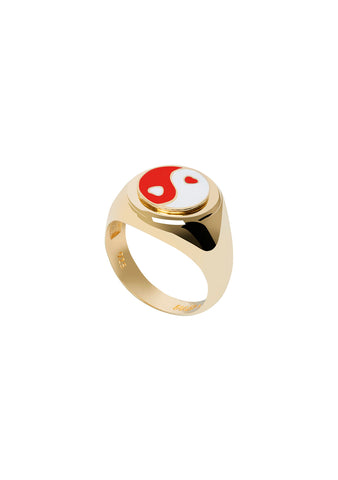 Wilhelmina Garcia Gold Red Yin Yang Ring