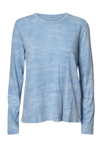 Raquel Allegra Baby Blue Tie Dye Long Sleeve Crew shop online