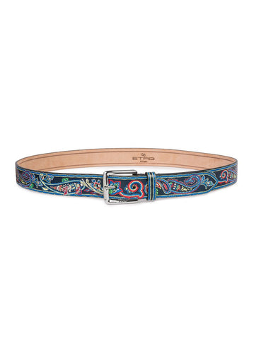 Etro Paisley Detailed Leather Belt