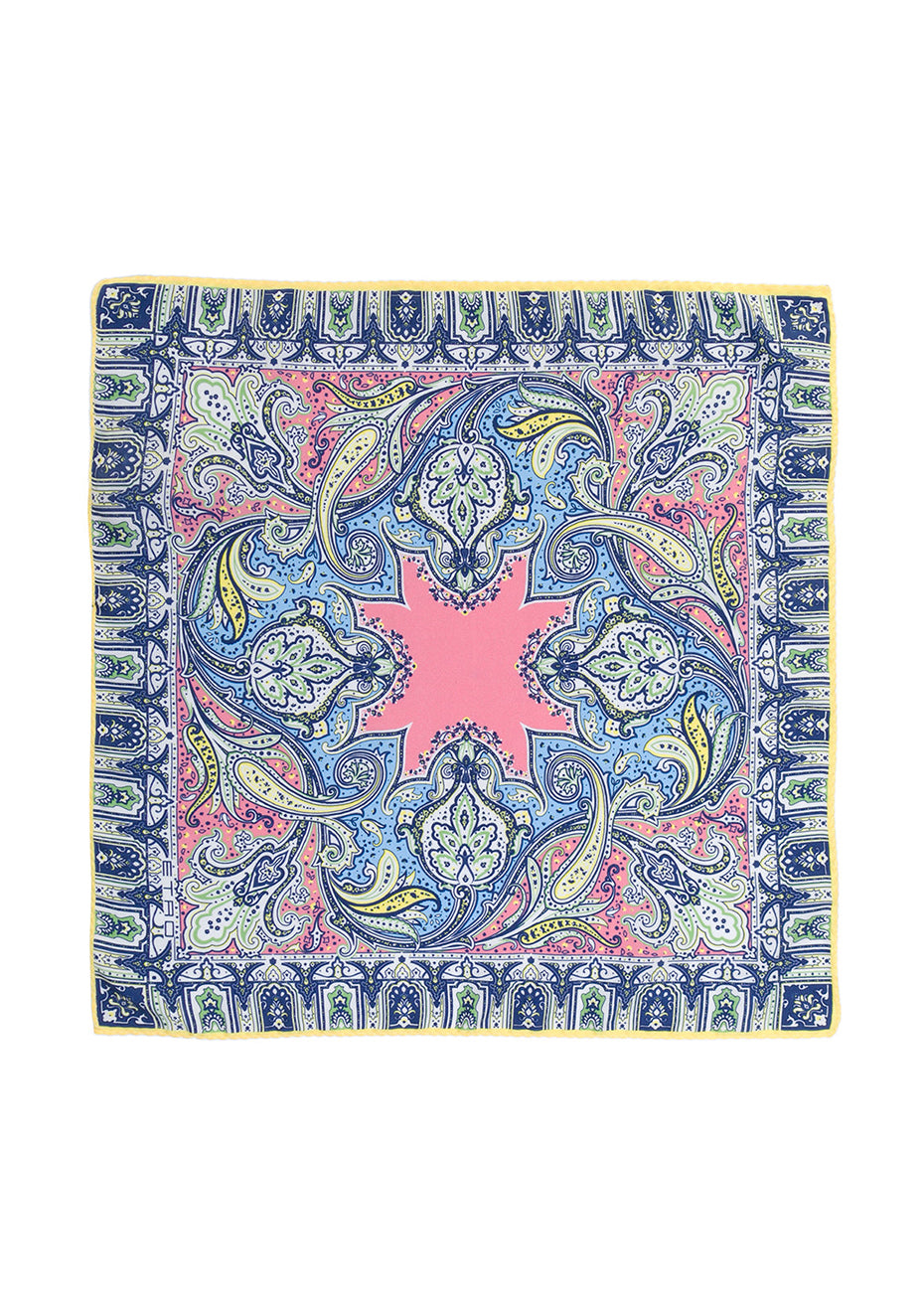 Yellow & Blue Paisley Silk Scarf