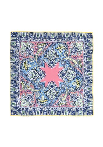 Yellow & Blue Paisley Silk Scarf shop at lot29.dk