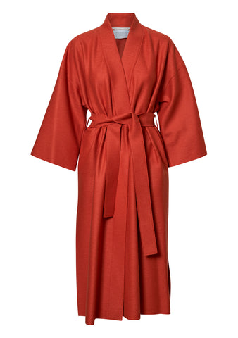 Dusty Coral Pressed Wool Kimono Coat