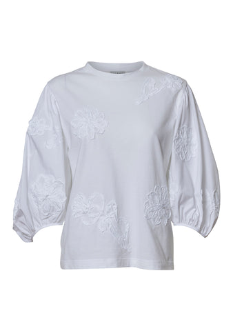 Clay White Floral Appliqués T-shirt