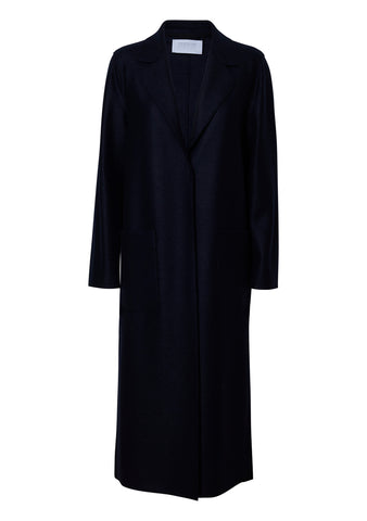 Navy Blue Boxy Patch Pocket Coat