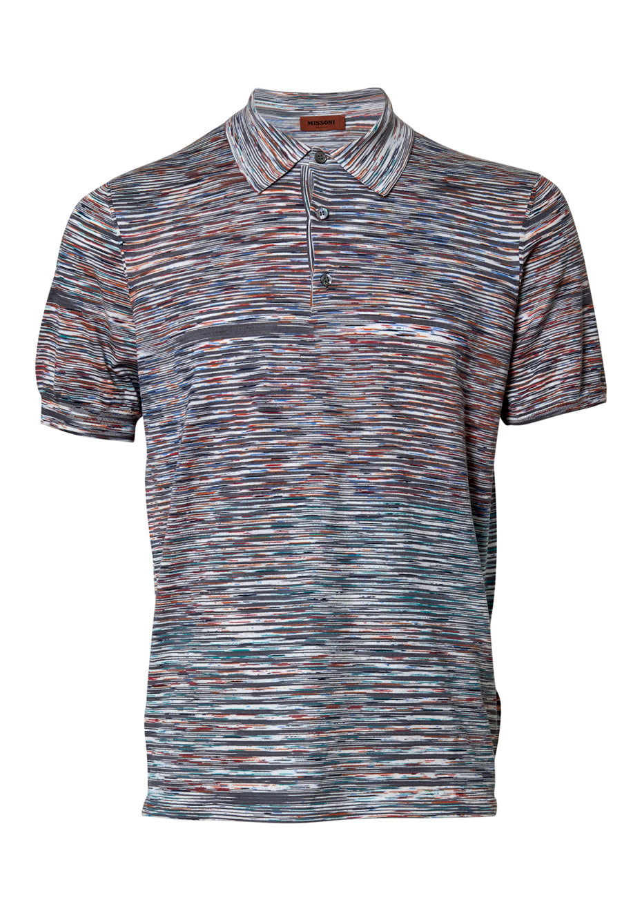 Grey Striped Polo Shirt