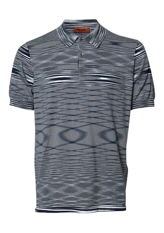 Navy & White Striped Polo Shirt
