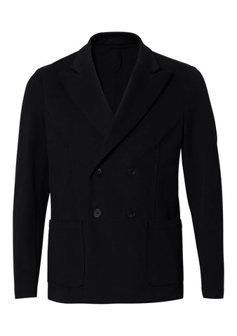 Piquet Black Lapel Stretch Blazer
