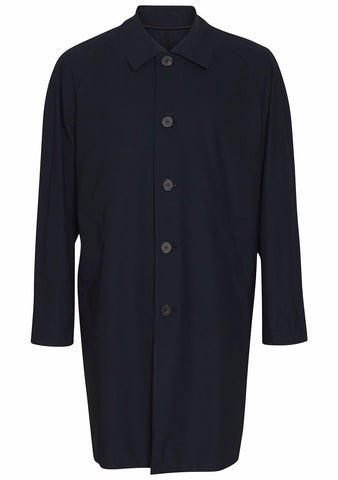 Harris Wharf London Dark Blue Technical Overcoat