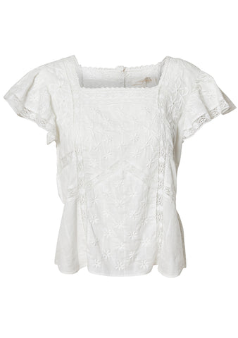 LoveShackFancy Steffi White Top