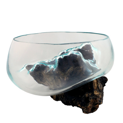 "Mini Hand Blown Molten Glass and Wood Root Sculptured Succulent Bowl Terrarium (6""x6"")"