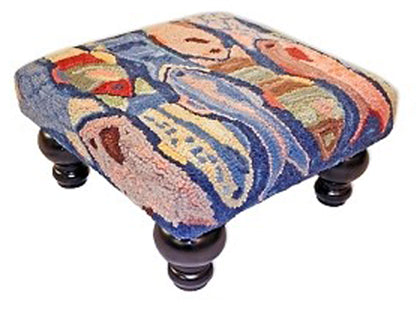 Our colorful handcrafted School of Fish wool footstool features nautically inspired style and colors and is 18