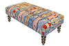"Our colorful handcrafted A School of Fish hooked wool bench features nautically inspired style and colors and is 48"" in length."