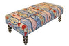 "Our colorful handcrafted School of Fish hooked wool bench features nautically inspired style and colors and is 48"" in length."