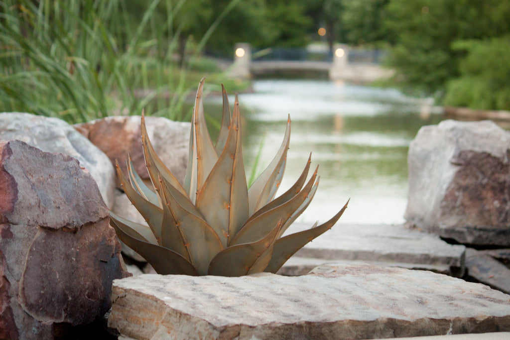 Our Agave Sharkskin Succulent Metal Yard Art Sculpture looks beautiful nestled into rocks