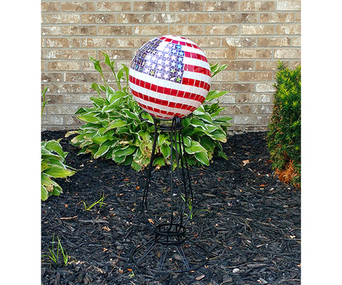 "Our Americana Handcrafted Mosaic Glass Gazing Globe is 10"" in diameter and it will add color and your Patriotic spirit each and every season."