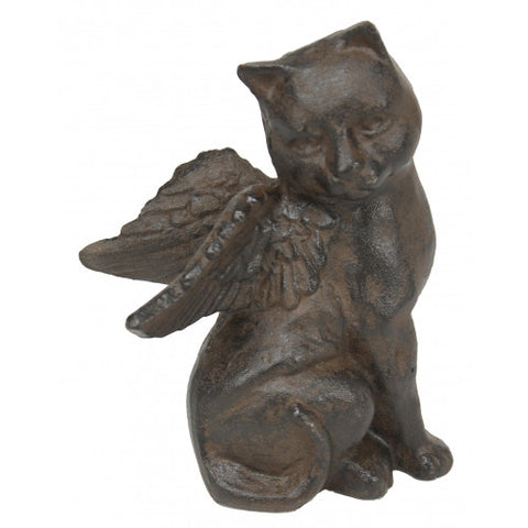 Cast Iron Angel Kitty Doorstop Pet Memorial Marker Statuary - inthegardenandmore.com