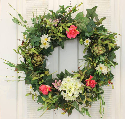 "This beautiful Artichoke, Hydrangea and Roses Silk Front Door Wreath – 22"" can be used season after season and features lots of color"